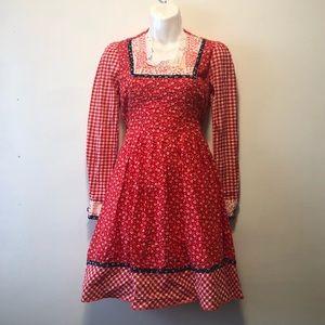 Vintage 70's Jody T Red Prairie Babydoll Dress